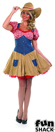 Girl Cow Kostüm - The Good Life Damen Erwachsene Spaß Shack Kuh-Mädchen Cow Girl Western Kostüm Kleidung Größe 44-46