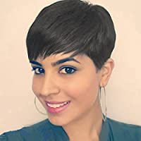 Eseewigs 100% Real Virgin Remy Human Hair Free Part Short Stylish Wig with Bangs Full Lace Human Hair Celebrity Wig for Women