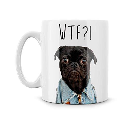 ChGuangm WTF Pug Cute Puppy Dog Funny Parody Mug Meme Swearing Cute Cartoon Dog in Denim Jacket Super Cute Gift for Dog Lover -