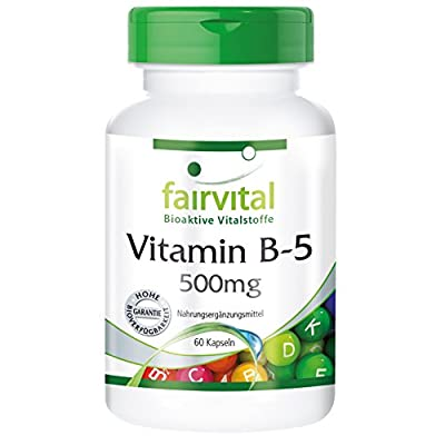 fairvital - Vitamin B5 500mg - Pantothenic Acid - In Pure Form - 60 Capsules from fairvital