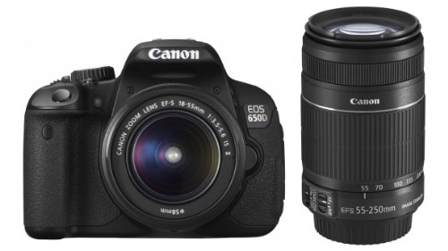 Canon EOS 650D Digital SLR-Kamera (18 Megapixel, 7,6 cm (3 Zoll) Display, Full HD, LiveView) inkl. Kit II EF S18-55mm is und 55-250mm is Slr Canon Digital Rebel