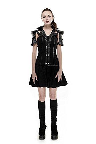 shoperama Damen-Kleid Baumwolle Punk Rave Q-288 Steampunk Gothic Military Kriegerin Lolita Cosplay Schulterpanzer Schulter-Rüstung, Größe:L