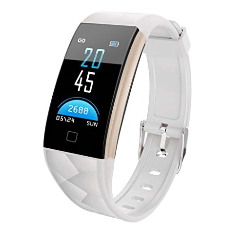 kingko 0.96 Zoll TFT bunter Bildschirm,IP67 wasserdicht,T20 Color Screen Bluetooth Smart Watch Heart Rate Monitor Smart Band,Herrenuhr - Damenuhr I Schlicht, elegant und sportlich (weiß)