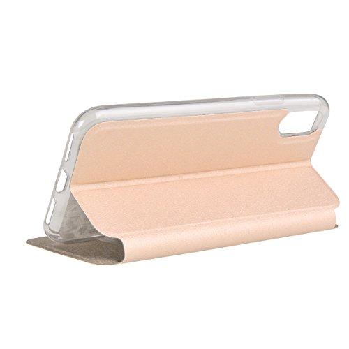 """MOONCASE iPhone X Flip Cover, [Window View Style] PU Leder Handyhülle Built-in Ständer TPU Stoßfest Schutz-tasche Case für iPhone X 5.8"""" Blau Golden"""
