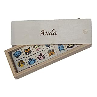 Shopzeus Children's Domino in Wooden Box. Engraved name Auda (first name/surname/nickname)