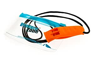 Orange Safety Whistle with Lanyard and Zip-Pouch