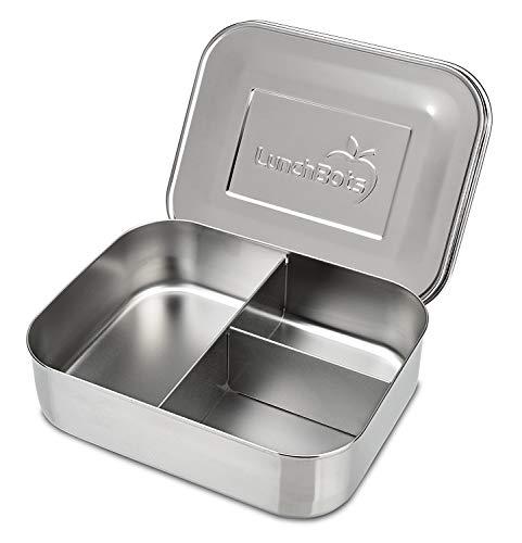 Trio 2 Edelstahl Nahrungsmittelbehälter - Drei Abschnitt Design, perfekt für gesunde Snacks, beilagen oder Finger Foods - Spülmaschinenfest und BPA frei - Komplett Aus Edelstahl