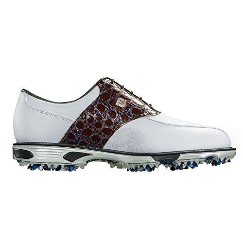 Footjoy Herren DryJoys Tour Golf Schuhe, Herren, White/Brown Gator - Brown Gator