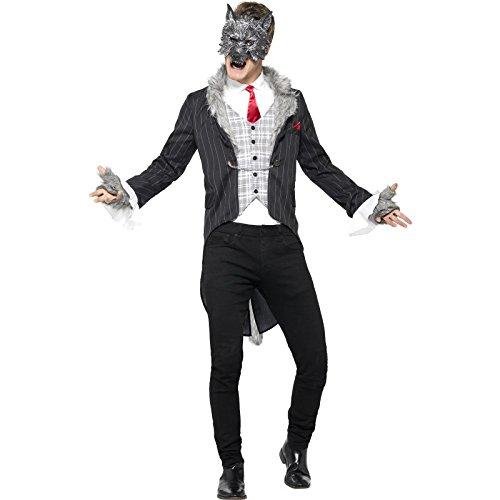 Smiffy's 44395L - Herren Großer Böser Wolf Kostüm, Größe: L, grau (Big Bad Wolf Maske Kostüm)