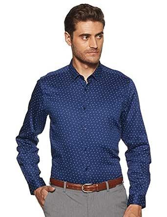Max Men's Printed Slim Fit Formal Shirt (FCAWTPA18035_Blue S)