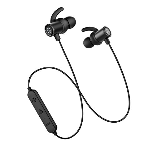 Bluetooth Earphones Super Bass SoundPEATS Wireless Headphones Magnetic Earbuds In-Ear Sports Sweatproof IPX6 Earphones with Mic (High Fidelity Sound, Bluetooth 4.1, aptx, 8 Hours Play Time, Secure Fit Design)- Black