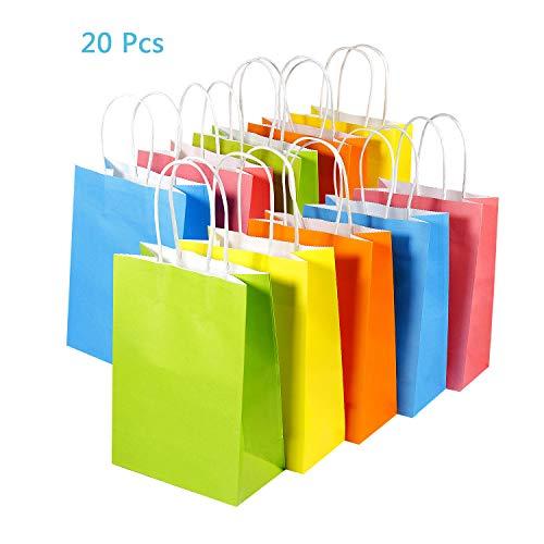 Joeyer 20 Pcs Sacs Cadeaux en Papier Kraft avec Poignées Party Coloré Gift Bag (4 Couleurs)