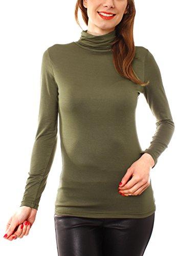 Easy Young Fashion Basic Damen Langarm Shirt Rollkragen One Size Olive