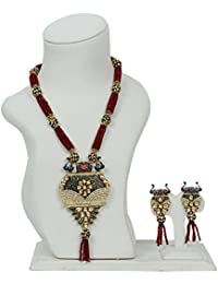 Ratnatraya Red Kundan Heavy Red Carnelian Crystal Multi Layered Stone Pendant Necklace Set With Earrings | Traditional...