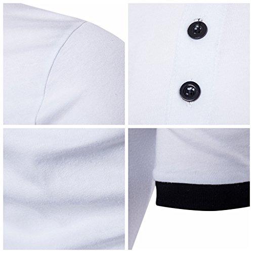Whatlees Herren Urban Basic Henley T-shirts Muskelshirt mit weiches Jersey in Versch.Farben B527-White