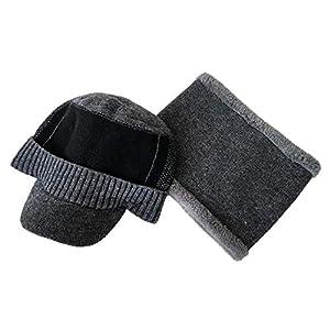 Harrell Mütze Handschuhe Set, Wintermütze, warm, gestrickt, Einheitsgröße für Reisen/Wandern/Camping/Angeln/Radfahren…