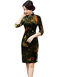b2288b3cdba08 ACVIP Femme Demi Manches Au-Dessus du Genou Chinese Traditional Cheongsam Dress  Robe Multicolore