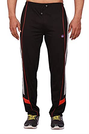 VIMAL Men's Striped Cotton Trackpants (D7_Black_Small)