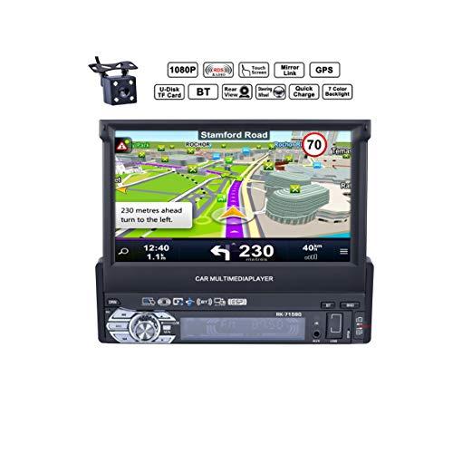 Reakosound 1 Din 7 pulgadas 1080P Radio de Coche con Pantalla Táctil retráctil HD Bluetooth Navegador GPS Radio FM / AM Vídeo Estéreo USB AUX cámara trasera