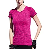 Dealikee Femmes Manches Courtes T Shirt Séchage Rapide T Shirt Running Tee Shirt Technique Respirant Yoga Sports T-Shirt Tees -Pink S