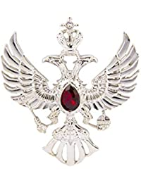 Knighthood Double Headed Eagle with Winged Stone Detailing Lapel Pin Badge Coat Suit Jacket Gift Party Shirt Collar Accessories Brooch