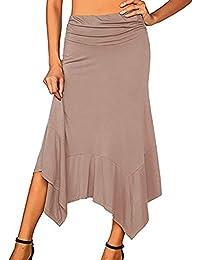 Subfamily Abito da Donna con Bordo Irregolare in Tinta Unita Gonna Moda  Casual Vestito Estivo da b8c3080defb