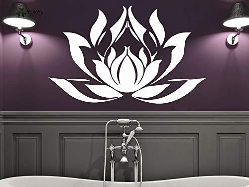 jiuyaomai Wandtattoo Vinyl Mode Schlafzimmer Wandaufkleber Repetable Lotus Blume Aufkleber Aufkleber Mandala Namaste Yoga Decor57X90 cm