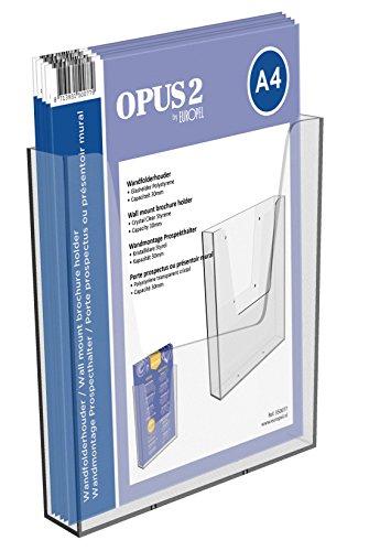 OPUS 2 350077-Wand Prospekthalter für DIN A4 im Hochformat, Transparent, Acryl
