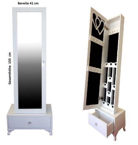Seebras armadietto gioielli con specchio, organizzatore con specchio - materiale: velluto - dimensione dello specchio: 147 x 52 x 13 cm, bianco, supporto da pavimento