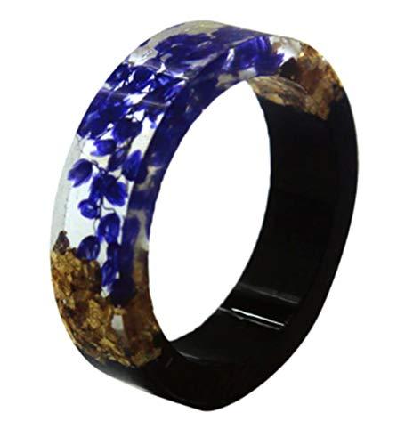 AccessCube Handgemachte geheime Holz Blume Harz Ring Pflanzen innerhalb Schmuck Neuheit Holz Ring Jubiläum Ring (1, 7) (Ringe Harz Blume)
