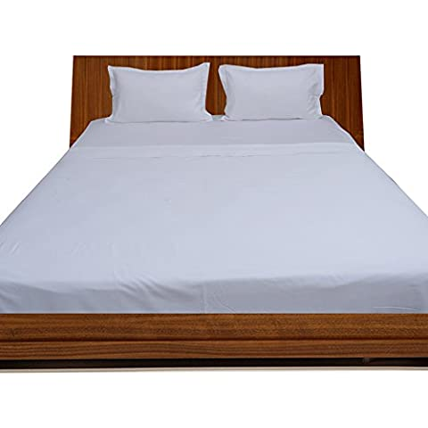 BudgetLinen 4PCs Juego de sábanas(Blanco , Doble 135x 190 cm(4 ft 6 in x 6ft 3in) , Pocket Size 24cm) 100 % de algodón egipcio Calidad premium 400 número de