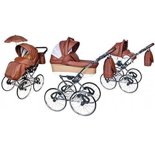 Kinderwagen Amberline Classica Lux Retro Eco Leder, 3 in 1 - Set Wanne Buggy Babyschale Autositz mit Zubehör (Regenschutz Insektenschutz Adaptersitz Sonnenschirm 17' Speichenmetallräder) (Silber)