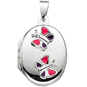 JOBO Kinder Medaillon Schmetterling rosa pink für 2 Fotos 925 Silber Kindermedaillon