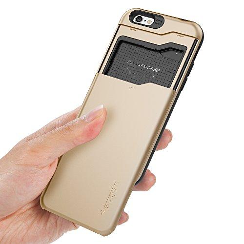 Spigen Coque iPhone 6 [Porte-Cartes] Coque portefeuille pour iPhone 6 [Slim Armor CS] [Shimmery White] Coque double couche en TPU et Polycarbonate avec porte-cartes pour iPhone 6 (2014) - SACS Shimmer Champagne Or