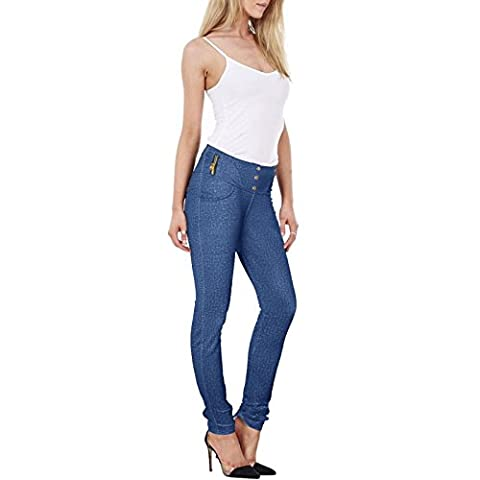 WOMEN'S LADIES SLIM FIT JEGGINGS STRETCHY WAIST SKINNY LEGGINGS PANTS MANY DESIGN & PATTERN AVAILABLE PLAIN LACE CHECK DETAILS IN EACH STYLE TROUSERS[Blue - 3002,