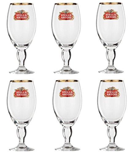 lot de 6 verre a biere stella artois 25cl neuf bord dore