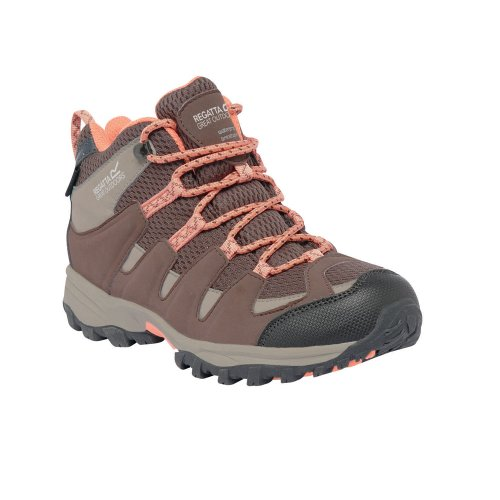 Regatta Kids Garsdale Mid Junior Breathable Walking Boots Brown Cocont/PeacM