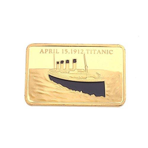 Rosepoem Titanische Goldmünze Bar Modern 24K vergoldete Zinklegierung 0.9999 Fein Gold Sammlerstück -
