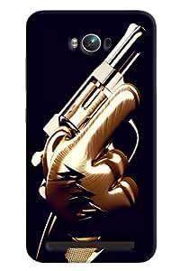 Blue Throat Gun In Man Hand Printed Designer Back Cover/ Case For Asus Zenfone Max