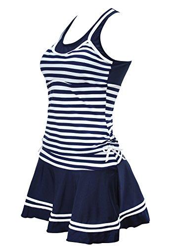 ALICECOCO Frauen Tankinis gestreiftes Vintage Badeanzug Zwei Stück Sport Badeanzug Bademützen (EU 42--44 ( 3XL ), Blaue Streifen) (Vintage Badeanzug Kostüm)