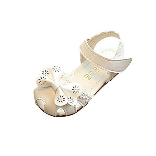 ädchen Blumen Geschlossen Sandalen Princess Schuhe (22, Weiß) ()
