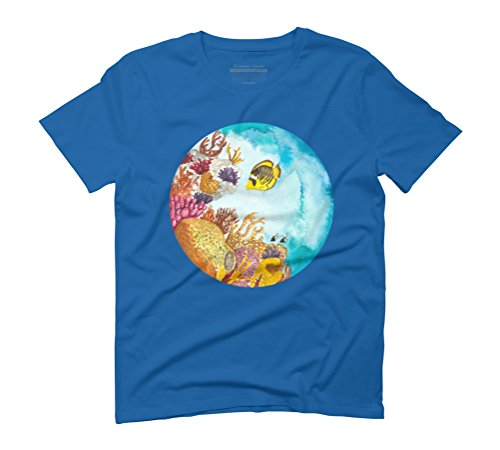 Watercolor Reef Men's Graphic T-Shirt - Design By Humans Royal Blue