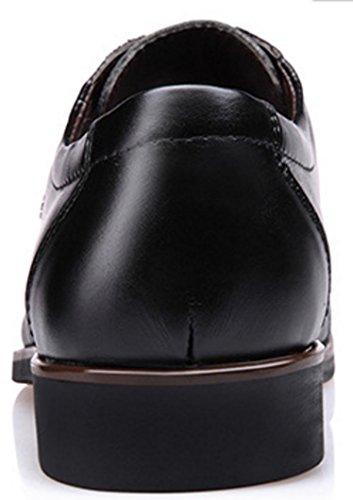 HYLM Men's Business Chaussures décontractées Chaussures de mariage en dentelle en cuir Robe pointue Chaussures de banquet Black