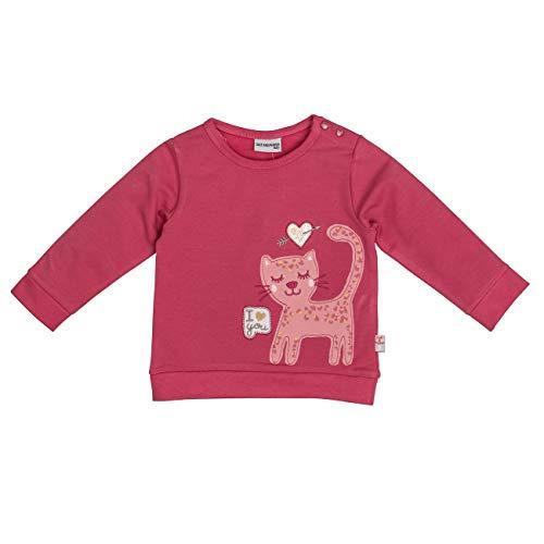 SALT AND PEPPER Baby-Mädchen Lovely Katze Pailletten Sweatshirt, Rosa (Rosewood 849), (Herstellergröße: 92)