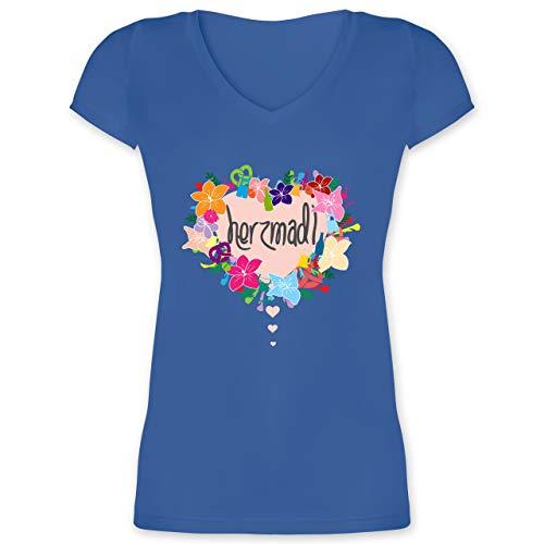 Extra Kostüm Tall - Oktoberfest Damen - Herzmadl - XXL - Blau - XO1525 - Damen T-Shirt mit V-Ausschnitt