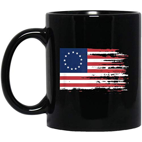 4th of July Patriotic Betsy Ross battle flag 13 colonies 11 oz. Black Mug -