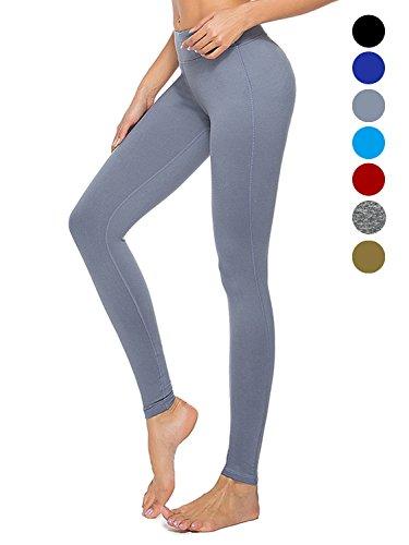dh Garment Legging de Sport Femme Taille Haute avec Poche Legging Yoga Patalon Zumba Fitness Gym Gris