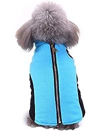 Ropa para Mascotas Chaqueta de Perro a Prueba de cálido Vellón de Coral Chaleco con Cremallera de Invierno Traje de esquí al Aire Libre Adecuado para Perros pequeños Gusspower