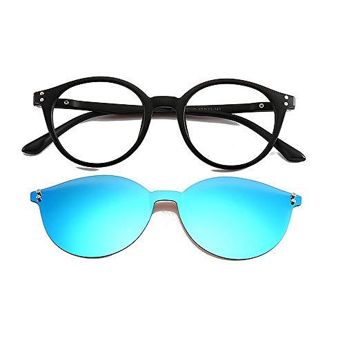 HQCC Frauen farbige Linse unzerbrechlich TR90 Frame Clip-on UV-Schutz Magie Sonnenbrille mit magnetischen (Farbe : Blau)