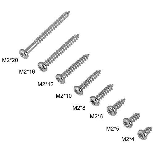 Walfront 800 Stck. M2 selbstschneidende Schrauben, Phillips Pan Head, selbstschneidend, 4 - 20 mm